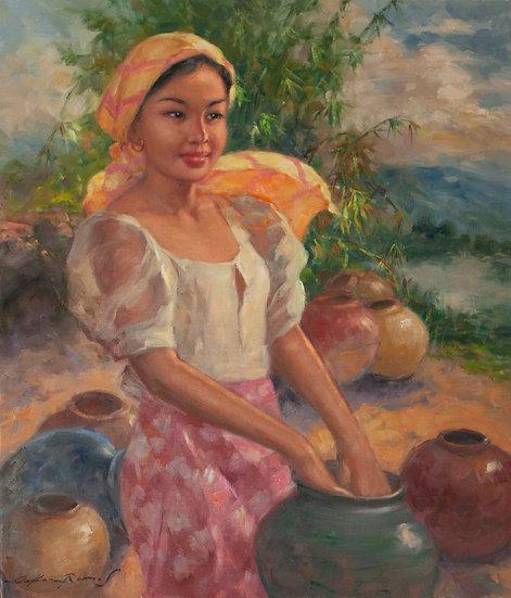 Lady with Vases - Oscar Ramos