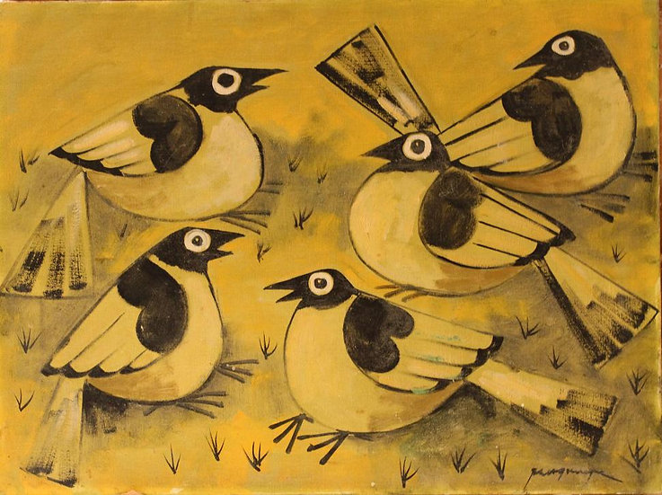 Five Birds in Yellow