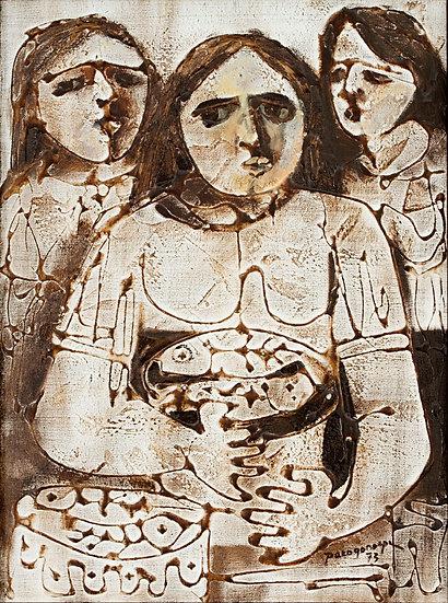 """Three Ladies in brown- Francisco """"Paco"""" Gorospe"""