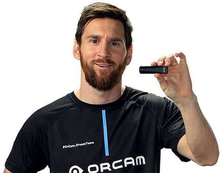 Leo Messi holding a OrCam