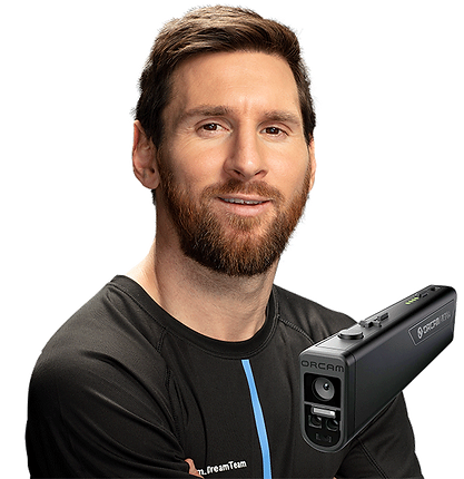 image of Leo Messi with a product image of the OrCam read