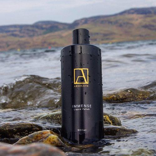Bottle Of Immense polish pre wax cleanser sitting on the rocks, car polish, black car polish, best polish for black