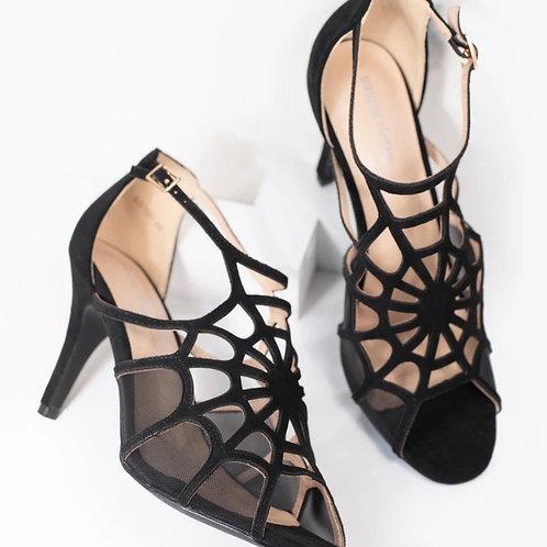 Unique Vintage Black Spider Web Heels sz 9