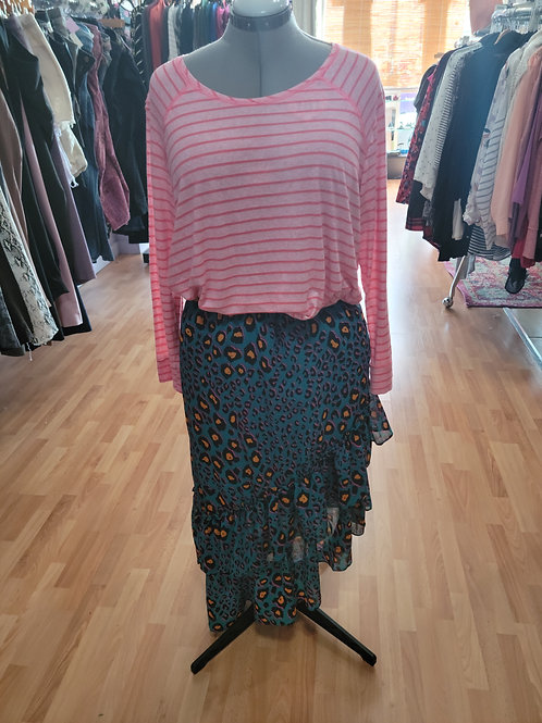 *NWT* Scoop Ruffle Leopard Print Skirt sz XL