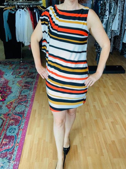 Muse Mod Orange White Striped Dress sz 10