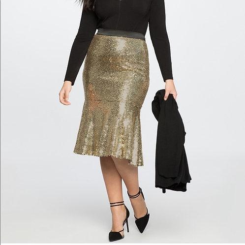 Eloquii 16 Sequin Trumpet Midi Skirt
