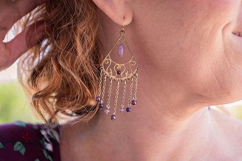 Gold Dangle Earrings with purple beads