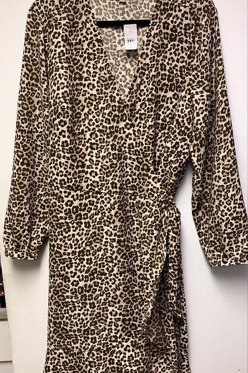 Cheetah Wrap Dress Sz 18