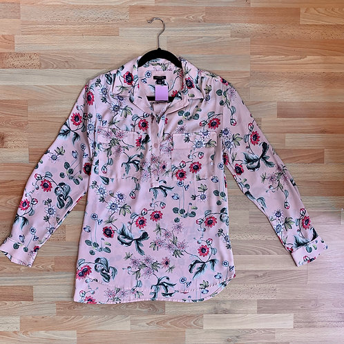 Ann Taylor Pink Floral Blouse Size L