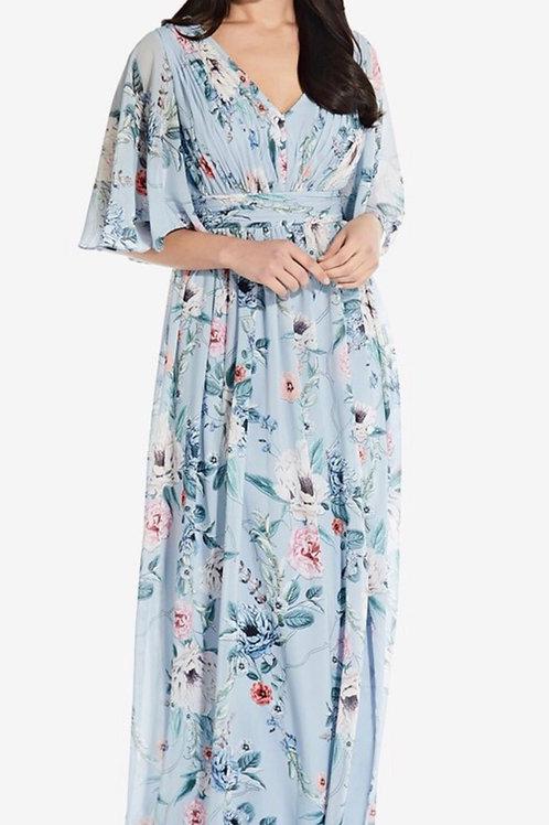 Adrianna Papell Long Floral Dress, Sz 18