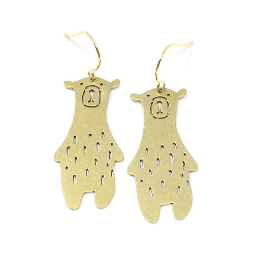 NEW Handmade Brass Bear Earrings by Crafts & Love