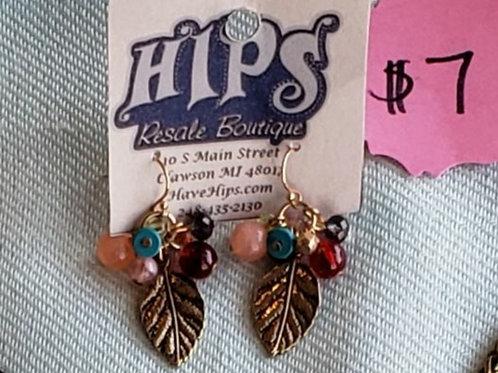 Bead & Leaf Earrings