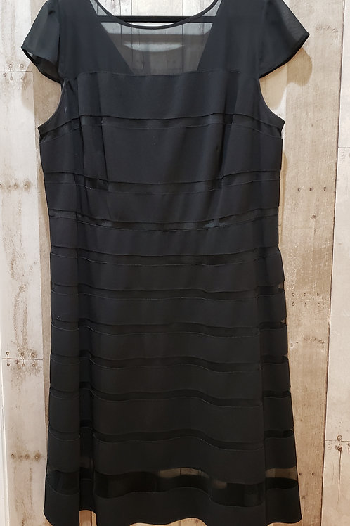 Adrianna Papell Mesh Striped Cap Sleeve Dress Size 18