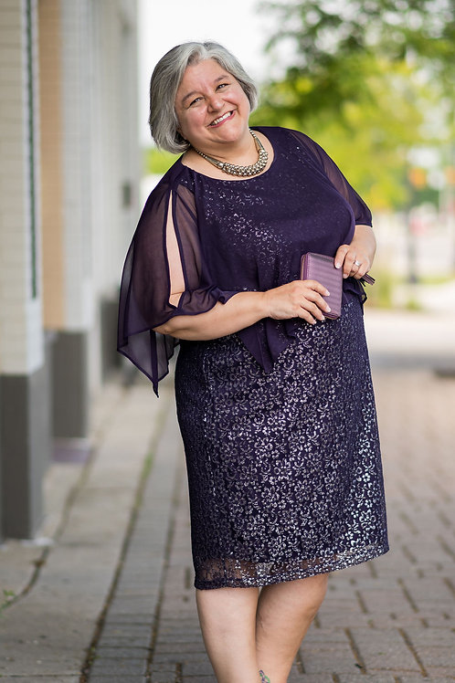 NWT Catherines Silver & Purple Lace Dress W/Attached Shawl Size 20W