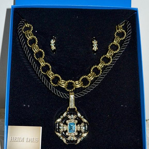 Heidi Daus Newport Chic Black/Blue Enamel Crystal 3 Pc. Set