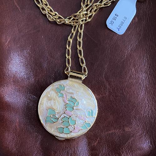 Vintage enamel perfume locket necklace