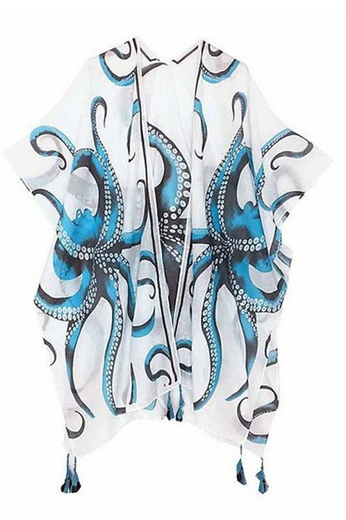 NWT JC Sunny Blue Octopus Kimono O/S