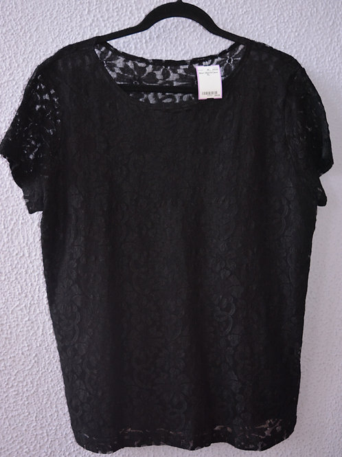 Short Sleeve Floral Lace Top  Size 1X