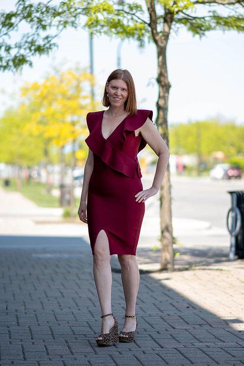 NWT BOOHOO Sculpt Ruffle Bandage Dress Size 16