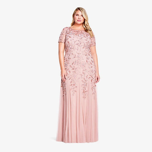 FLORAL GODET GOWN IN ROSE GOLD Sz 18w