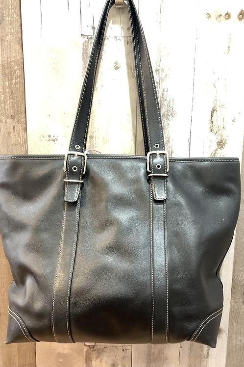 Coach Leather XL Shopper Tote Black