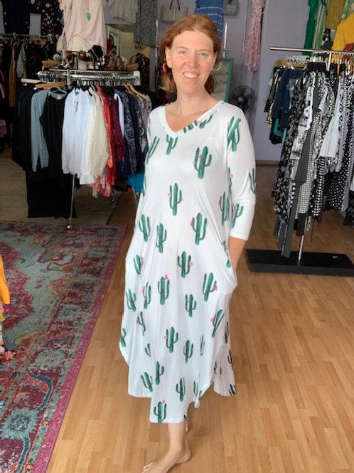 Tickled Teal Cactus Dress sz Large