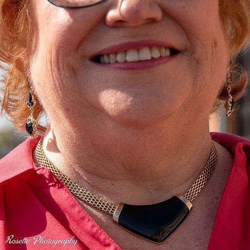 Black & Gold Fashion Choker Necklace