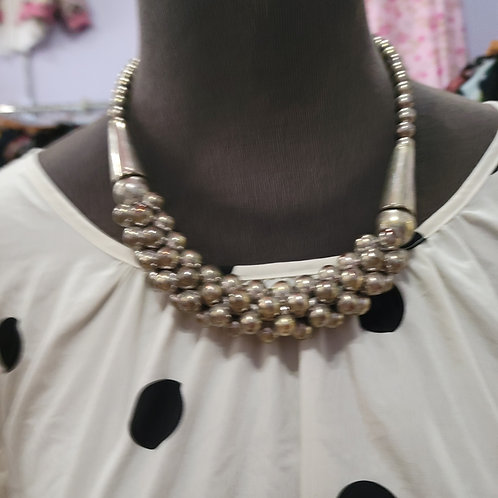 Chunky Silver Bead Necklace