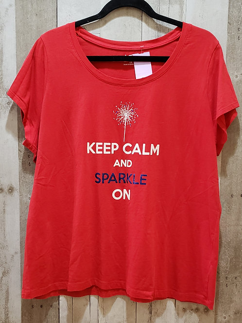 Unbranded Keep Calm And Sparkle On T-Shirt Size 1X