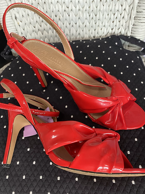 ASOS red patent heeled sandals size 8