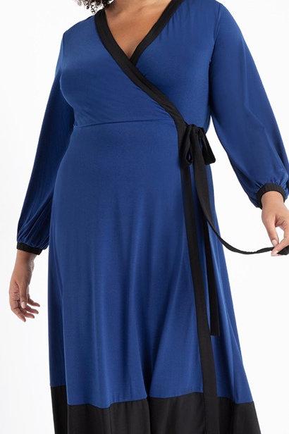 Eloquii Colorblock Wrap Dress Sz 14/16