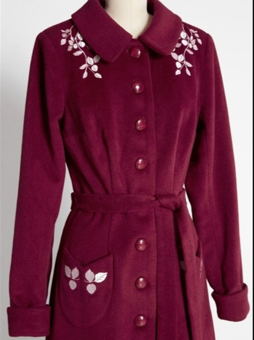 Modcloth by CollectIf Audable Leaves Winter Coat Sz 24/26