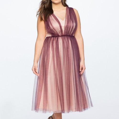 Eloquii purple pink tulle poof Dress sz 16
