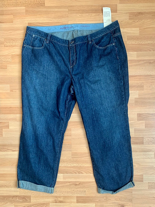 NWT Talbots Cuffed Straight Leg Jeans Size 24