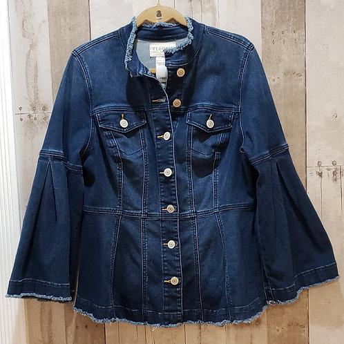 Eloquii Dark Denim Flare Jacket Size 14