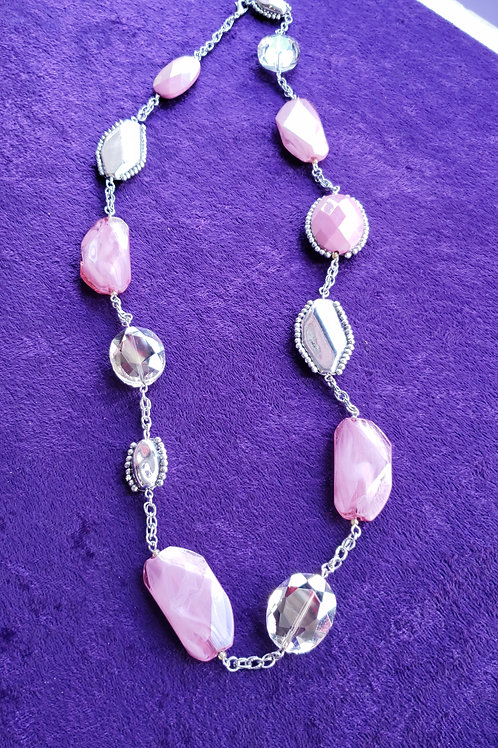 Pink & Silver Costume Necklace