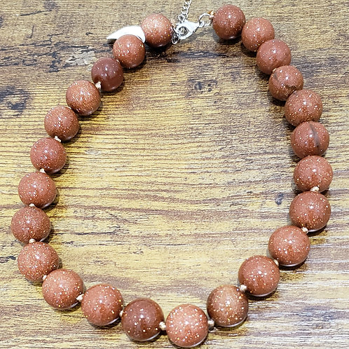Goldstone Large Bead Necklace