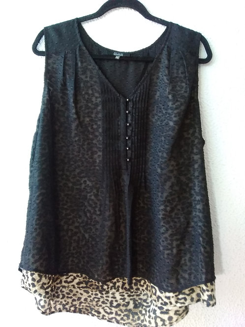 BLACK Saks Fifth Avenue Layered Sleeveless Top  XL