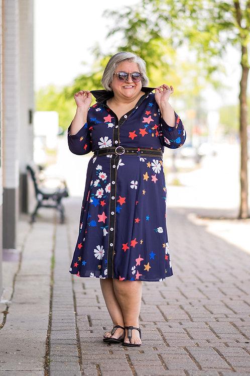 E Shakti Button-Up Belted Dress Size 20W/Fits Like a 14/16