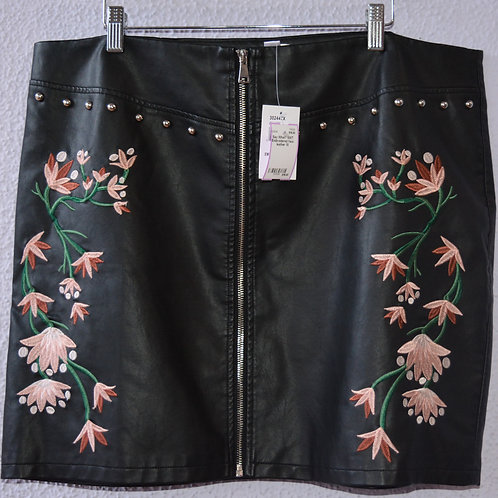 Say What? Faux Leather Embroidered Skirt  Size 1X NWT