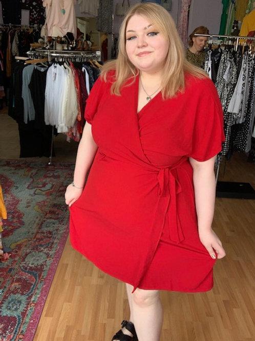 Bobeau Crepe Wrap Dress Red 4X