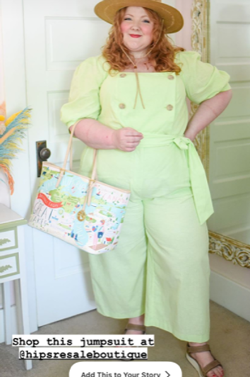 Eloquii Lime Green Double Breasted Linen Blend Jumpsuit sz 18