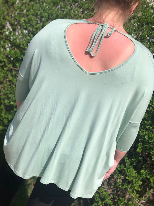 Mint Green Three Quarter Length Sleeve Peekaboo Back XL