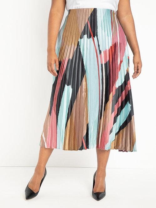 Eloquii Sunburst Pleated Midi Skirt