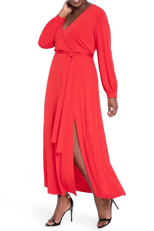 Eloquii Red Faux Wrap Maxi Dress : sz 16