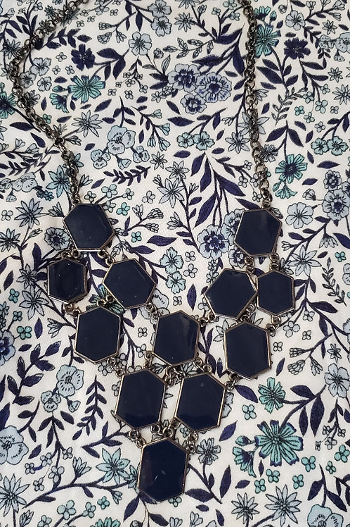 Navy Geometric Necklace