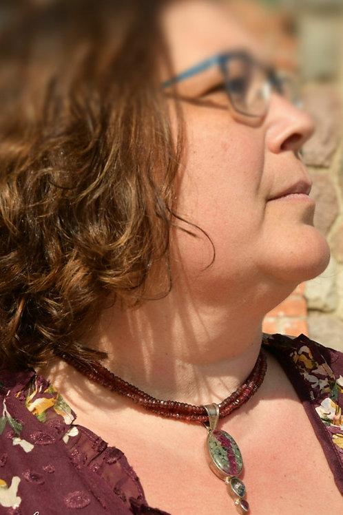 .925 Eudialyte/Mystic Topaz/Tourmaline Necklace