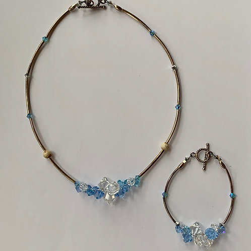 .925 Sterling Silver and Crystal necklace and Bracelet Set