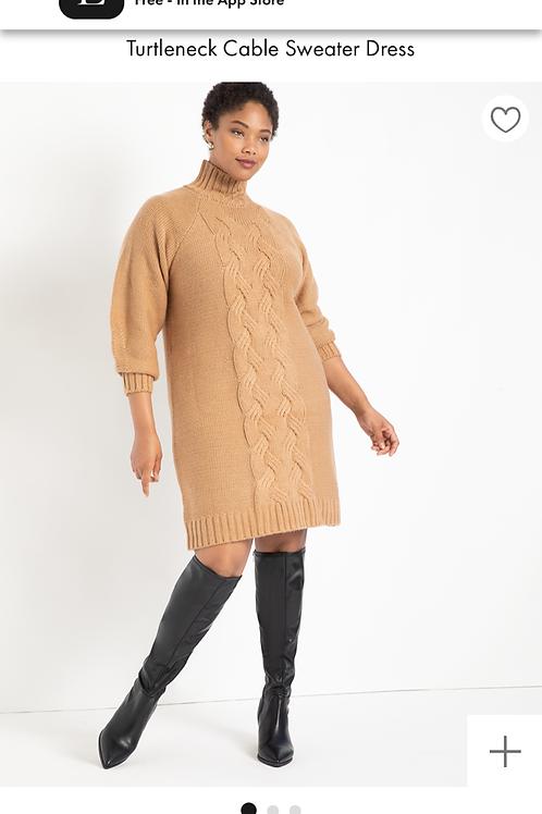 Turtleneck Cable Sweater Dress Sz 18/20