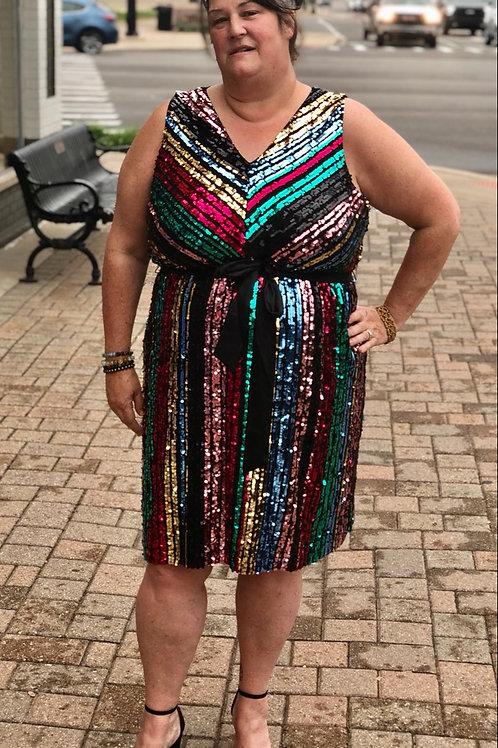 Lane Bryant Multi- color Sequin Dress sz 20